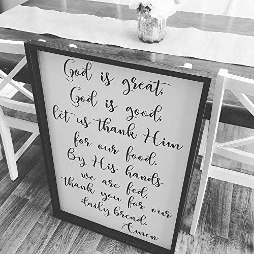 Kitchen Meal Prayer Sign God is Great God is Good Let us Thank him for Our Food Christian Decor Sign Farmhouse Wall Decor