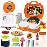 BeebeeRun Cucina Giocattolo Pizza Giocattolo per Bambini,Gioco di Ruolo Giocattolo Educativo Bambini 3 4 5 Anni