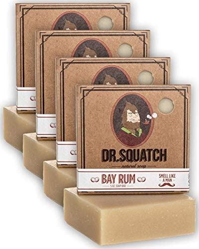 Dr Squatch Bay Rum Soap 4 Pack Bundle Bar Soap for Men with Natural Scent Bay Rum Kaolin Clay product image