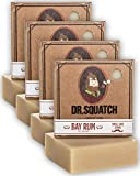 Dr. Squatch Bay Rum Soap 4-Pack Bundle – Men's Naturally Fresh Scented Natural Bar Soap with Bay Rum, Kaolin Clay, Shea Butter – Organic Handmade in USA
