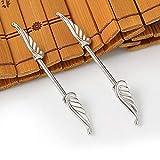 Davitu 1 pcs 14Gx16mm Punk Rock Double Wing Nipple Shield Rings Body Piercing Jewelry Angel Wings Nipple Bar Ring for Women Gift