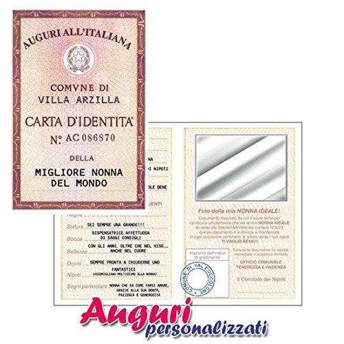 Bombo Biglietto Auguri Carta D'Identità Della Nonna