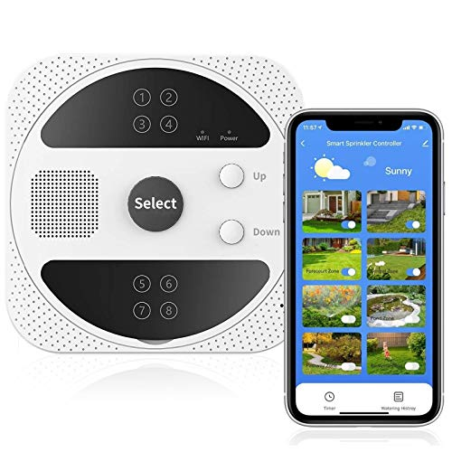 AISIRER Smart Sprinkler Controller,WiFi Sprinkler Controller with 8 Zone,Watering Timer & Weather Intelligence Controller System,Voice Control Compatible with Amazon Alexa & Google Assistant