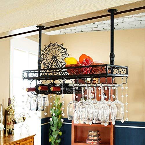 JFFFFWI Hängendes Weinglasregal Umgedreht Weinbar Bar Bar hoch Kreativer Weinschrank Deko Kleiderbügel mit Kristalldekoration 9 Tassen 3 Flaschen-Schwarz + Kristall_80cm * 25cm
