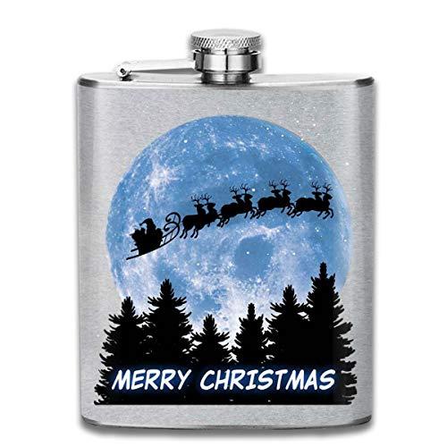Flachmann mit Weihnachts-Silhouette und Weihnachtsmotiv, 200 ml, tragbar, Edelstahl