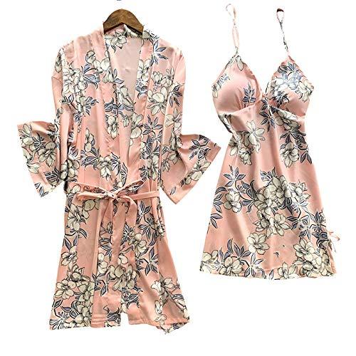 Laura Lily - Conjunto de 2 Piezas Pijamas Mujer de Seda satén de Estampado Floral (Rosa, M-L)