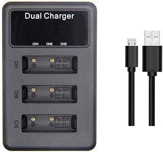 【PCATEC】SONY NP-BX1 対応縦充電式USB充電器 LCD付4段階表示3口同時充電仕様 USBバッテリーチャージャー DSC-HX50V,DSC-HX95,DSC-HX99等対応 (3口USB充電器☆LCD付)
