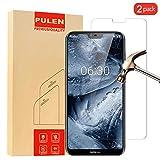 [2 Stück] Nokia 6.1 Plus Panzerglas Schutzfolie, PULEN 9H Festigkeitgrad Glasfolie Folie Bildschirmschutzfolie [Anti Fingerabdruck] [Anti-Kratzen] [Blasenfrei] für Nokia 6.1 Plus