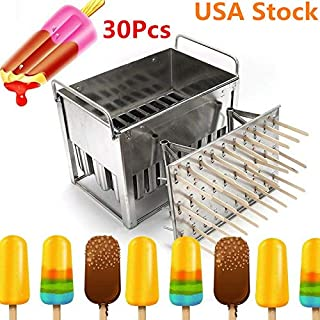 Gyheung 30 PCs Popsicle Molds Rack, Stainless Steel Ice Cream Pop Shaped Moulds, DIY Ice Lolly Stick Holder Maker Freezer, Popsicle Mold Pop Holder, for Summer Party/Birthday, USA Stock