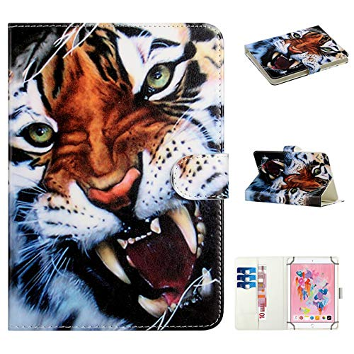 Acc Family Universal case for 8-inch tablet,leather cartoon case with cards/money slots Compatible for 7.5-8.5-inch iPad Mini,Samsung Galaxy Tab, Fire HD 8, Lenovo, Huawei Android iOS tablet (Tiger)