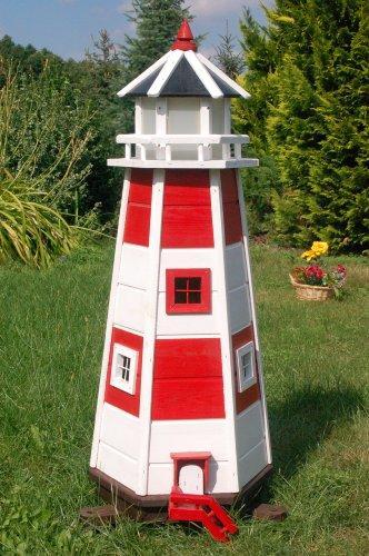 Deko-Shop-Hannusch Wunderschöner großer Leuchtturm aus Holz mit LED Beleuchtung 230v 1,1 m