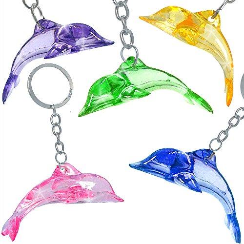 German Trendseller® - 12 x Kristall Delfin - Anhänger für Kinder Mix ┃ Kindergeburtstag ┃ Mitgebsel ┃ Delfine ┃ 12 Stück