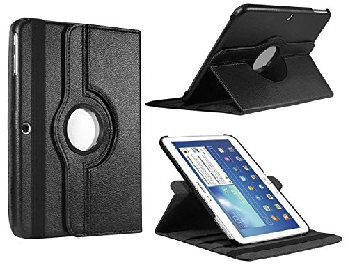 Flying Horse Samsung Tab 4 10.1 Case, Lichee Pattern 360 Degrees Rotating Stand PU Leather Case for Samsung Galaxy Tab 4 10.1 T530 Auto Sleep/Wake Tablet (Black)