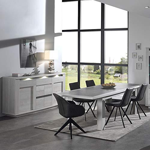 M-128 Esszimmer-Set, modernes Design, Eiche, Weiß und Grau