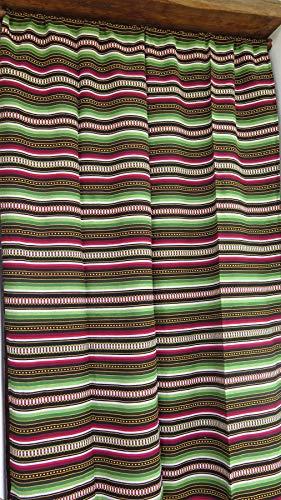 Cortina Alpujarreña Rustica,(160 x 215 cm),Verde Color 610 Hecha en España, Fibra Natural de algodón - Cortina para Puerta Exterior mosquitera y Parasol