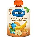 Nestlé Bolsita de puré de frutas con galleta, variedad Naranja Plátano y galleta - Para bebés a partir de 6 meses - Paquete de 8 bolsitas x 90 g