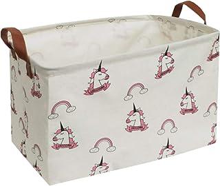 ESSME Rectangular Fabric Storage Box,Collapsible Storage Basket Bins Organizer with Handles for Kids Room,Shelf Basket,Toy...