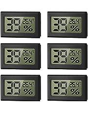 WeChip Mini Termómetro Higrómetro Digital Interior de Temperatura y Humedad, LCD Digital portátil Medidor de Humedad Interior y Exterior,con Alta precisión(6 PCS-Negro)
