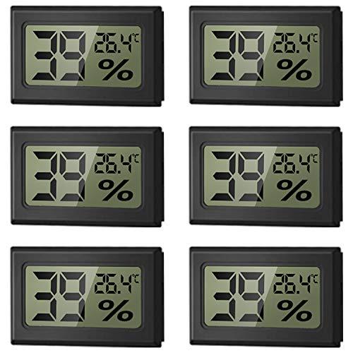 WeChip Mini LCD Igrometro Termometro Digitale temperatura umidità misuratore per Casa Monitor di Temperatura e umidità,Nero (6 PCS)