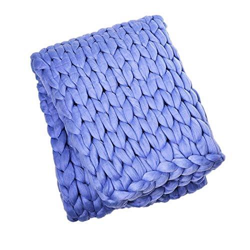 LICHUXIN - Coperta a maglia gigante, realizzata a mano, morbida, spessa e spessa, ideale per divano e yoga, idea regalo (colore: blu, dimensioni: 120 x 150 cm)