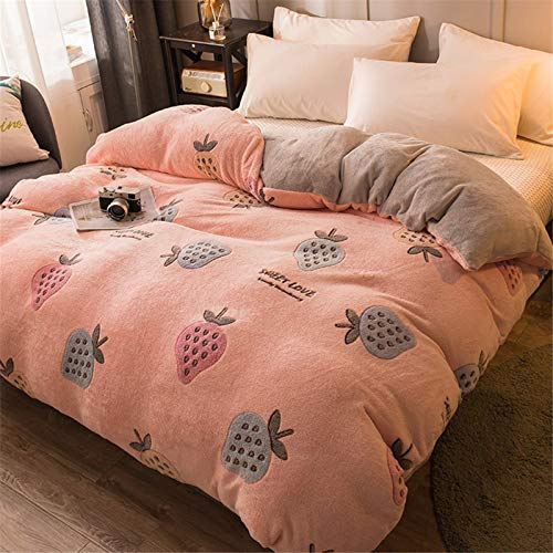 TSZRJ Ultra Soft Winter Thicken Coral Fleece Quilt Cover Single Girls Breathable Double Pink Child Adult Printing Duvet Cover Full Reversible Zipper ClosureD-150x200cm(59x79inch)