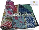 Indische handgefertigte traditionelle Kantha-Steppdecke, Siebdruck, Baumwolle, Doppelgröße, Tagesdecke (Patchwork)