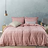 JELLYMONI Pink Large Grid 100% Washed Cotton Duvet Cover Set, 3 Pieces Ultra Soft Bedding Set with Buttons Closure, Solid Color Pattern Duvet Cover King Size(No Comforter)