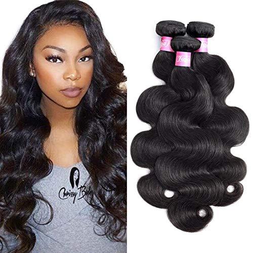 Jaja Hair 7A Peruvian Virgin Hair Body Wave Remy Human Hair Extensions 3 Bundles Deal Natural Black Color Peruvian Body Wavy Virgin Hair Weave Weft 8 10 12 Inches …