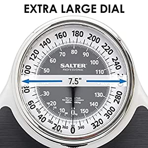 Salter Professional 916WHSVLKR Oversized Dial Bathroom Scale with Black Vinyl Anti-Slip Bath Mat 400 LB Capacity Analog Scale, 18.25 x 13.0 Inches, Black/White