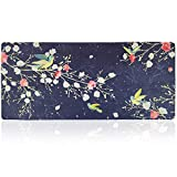 Extended Gaming Mouse Pad with Floral Design,XXL Mousepad-35.4''x15.7''x0.16''(4mm Thick), Desk Pad Keyboard Mat, Non-Slip Base, Water-Resistant (Chinese Flower & Birds)