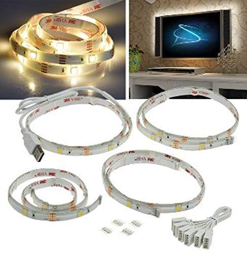 LED Stripe Set:TV-Hintergrundbeleuchtung, USB, 4x 50cm, warmweiß 3000K