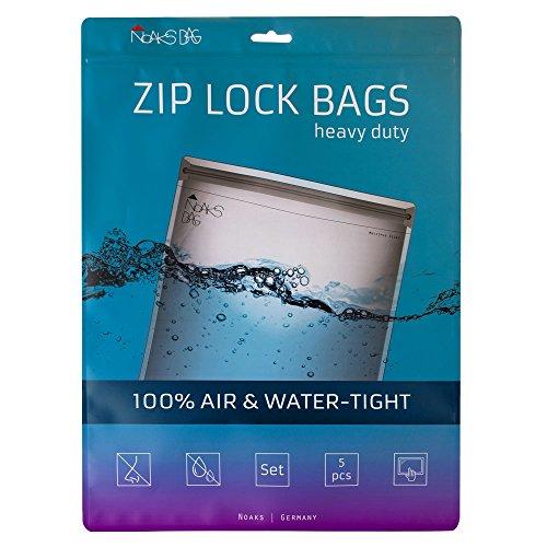 Noaks Bag | 5 Bags | Schutzhülle, Zip-Beutel, Dry-Bag | 100% wasserdicht, geruchsdicht & sicher | Für Urlaub, Sport & Reisen | Das Original (Größe Set | transparent)