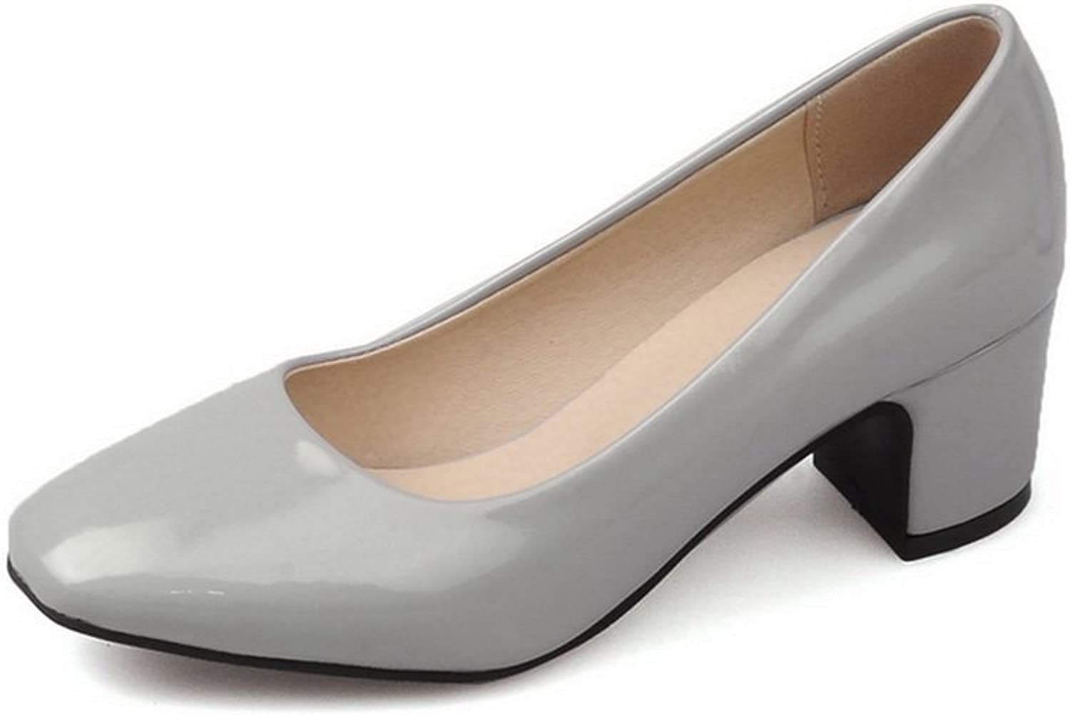 BalaMasa Ladies Square-Toe Chunky Heels Low-Cut Uppers Patent-Leather Pumps shoes