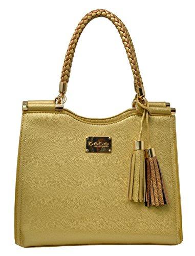 Bebe Women's Natalie Shopper Handbag Tote Shoulder Bag with Braided Handle (Gold)