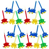 Kicko Birthday Candles with Train Holders - 20 Pack - 2.5 Inch - Multicolored, Rainbow - for Kids, Party Favors, Birthday Cakes, Decorations, Cupcake Toppers, Bday Supplies, Parties, and More