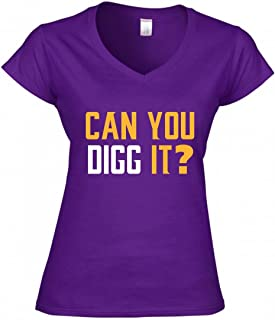 Purple Minnesota Diggs Can You Digg It Ladies V-Neck