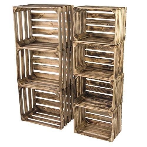 LAUBLUST 7er Set Vintage Holzkisten - Kisten in 2 Größen, 50x40x30cm / 40x30x25cm, Geflammt, Neu, Unbenutzt | Möbel-Kiste | Wein-Kiste | Obst-Kiste | Apfel-Kiste | Deko-Kiste aus Holz - 6