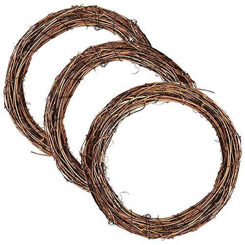 Aisszhao 20cm Natural Grapevine Wreath 3pcs Christmas Wreath Door Round Garland Vine Branch Wreath DIY Craft Xmas Wedding Holidays New Year Garden Home Party Decors(20+20+20)