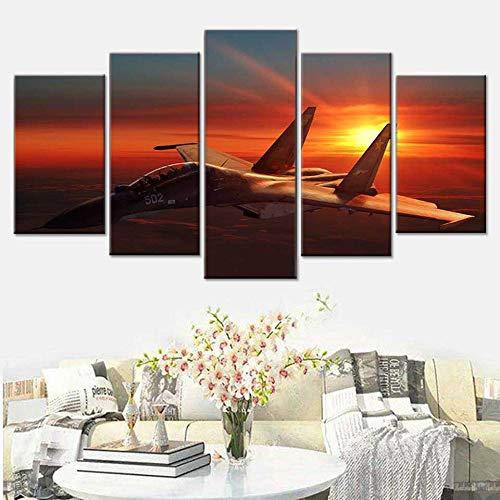 Zqylg Impresión HD moderna 5 panel animal king tiger lienzo póster decoración del hogar sala de estar impresión de póster de pared imágenes de paisajes naturales 30x50 30x70 30x80 sin marco