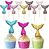 12 Pieces Mermaid Tail cupcake topper Reusable Cake Toppers Sequin cupcake topper picks Decoration for Birthday Party Baby Shower Wedding