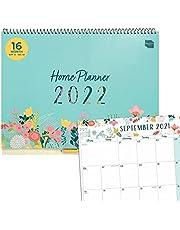 Boxclever Press Kalendarz planer domowy 2021-2022. Duży 16-miesięczny kalendarz akademicki na 2021 - 2022 runki września 21 grudnia 22. Kalendarz ścienny 2021-2022 z miesięcznymi zakładkami, listami i naklejkami