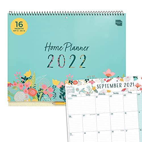(en inglés) Planificador Mensual de Boxclever Press. Calendario 2021 2022 16 Meses, Sept'21 a Dic'22. Amplio Calendario Familiar con Pestañas Mensuales. Calendario de Pared 2021 2022 con Listas.