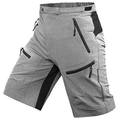 Cycorld Mens Mountain Biking Shorts Bike MTB Shorts Loose Fit Cycling Baggy Lightweight Pants with Zip Pockets Without Padded (Grey, Medium)
