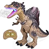 FUN LITTLE TOYS Remote Control Dinosaur for Kids, Electronic Walking Spray Mist Large Dinosaur Toys with Glowing Eyes, Roaring Dinosaur Sound, 18.5   Realistic Spinosaurus Toy Dinosaur for Boys, Girls