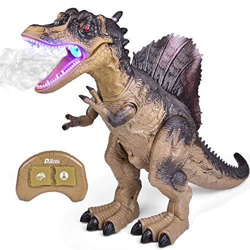 FUN LITTLE TOYS Remote Control Dinosaur for Kids, Electronic Walking Spray Mist Large Dinosaur Toys with Glowing Eyes, Roaring Dinosaur Sound, 18.5'' Realistic Spinosaurus Toy Dinosaur for Boys, Girls