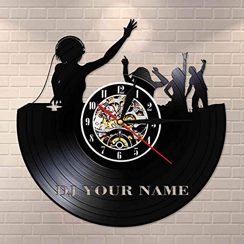 wtnhz LED-DJ music evening disc jockey vinyl record wall clock disco concert hall wall art clock personalized DJ gift