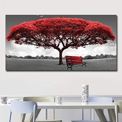 Carteles de lienzo de arte de pared de árbol de dinero rojo moderno impresiones imágenes de pared para la sala de estar de la oficina decoración del hogar obra de arte 30x60 CM (sin marco)