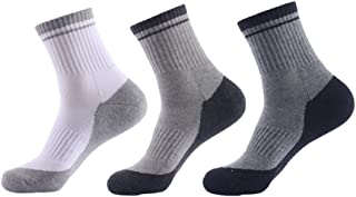 Men's Cushioned Padding Crew Socks Semi Combed Cotton Towel for Male's Outdoor Sport Athletic Hiking with Good Support