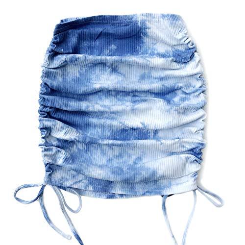 Verano Tie-Dye Bag Falda De Cadera Falda Plisada De Media Longitud Pit Strip Side Drawstring Street Style Ropa De Mujer