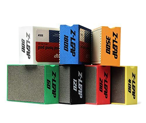 Z-LEAP Diamond Hand Polishing Pads 7-Pcs Set for Granite Marble Concrete Glass Stone Sanding Polishing